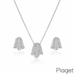 Piaget White Gold Tulip Earring & Pendant Suite